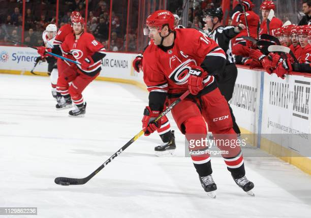 Justin Williams of the Carolina Hurricanes skates against the Ottawa Senators at Canadian Tire Centre on February 12, 2019 in Ottawa, Ontario, Canada.