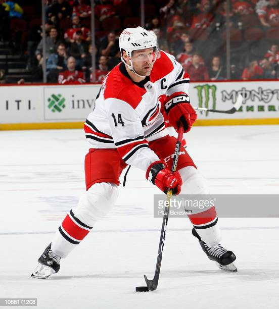 Justin Williams of the Carolina Hurricanes skates during an NHL hockey game against the New Jersey Devils on December 29, 2018 at the Prudential...