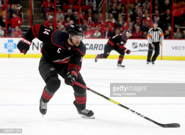 Justin Williams of the Carolina Hurricanes skates for position on the ice during an NHL game against the San Jose Sharkson October 26 2018 at PNC...