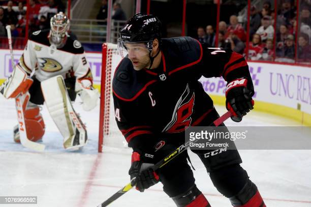 Justin Williams of the Carolina Hurricanes skates for position on the ice during an NHL game against the Anaheim Ducks on November 30 2018 at PNC...