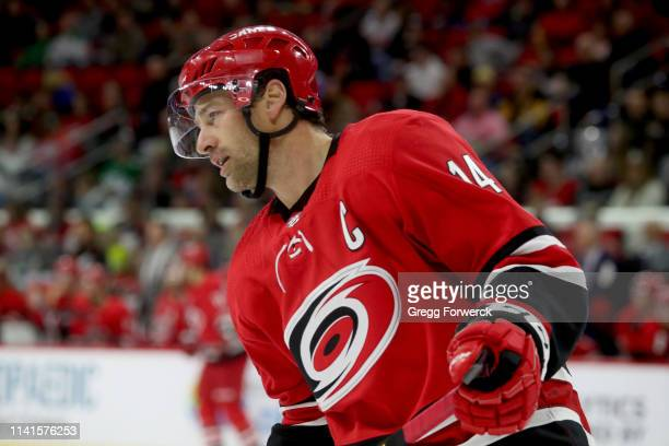 Justin Williams of the Carolina Hurricanes skates for position on the ice during an NHL game against the Dallas Stars on February 16, 2019 at PNC...