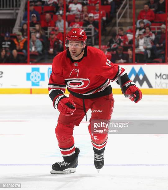 Justin Williams of the Carolina Hurricanes skates for position on the ice during an NHL game against the Los Angeles Kings on February 13 2018 at PNC...