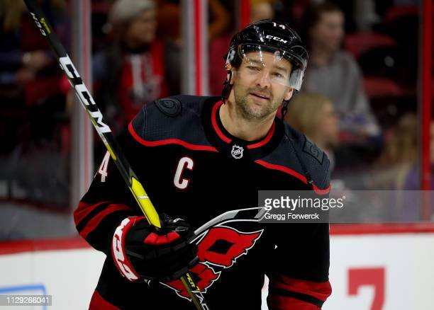 Justin Williams of the Carolina Hurricanes skates in warm ups prior to an NHL game against the Winnipeg Jets on March 8 2019 at PNC Arena in Raleigh...