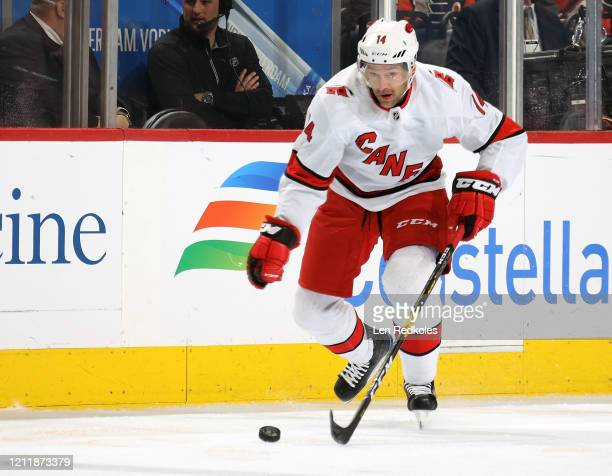 Justin Williams of the Carolina Hurricanes skates the puck against the Philadelphia Flyers on March 5, 2020 at the Wells Fargo Center in...