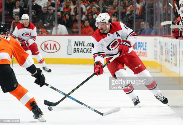 Justin Williams of the Carolina Hurricanes skates the puck against the Philadelphia Flyers on April 5 2018 at the Wells Fargo Center in Philadelphia...