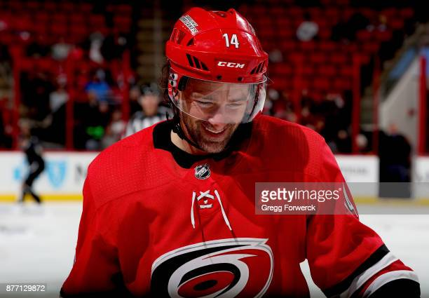 Justin Williams of the Carolina Hurricanes skates toward the bench area during an NHL game against the Dallas Stars on November 13 2017 at PNC Arena...