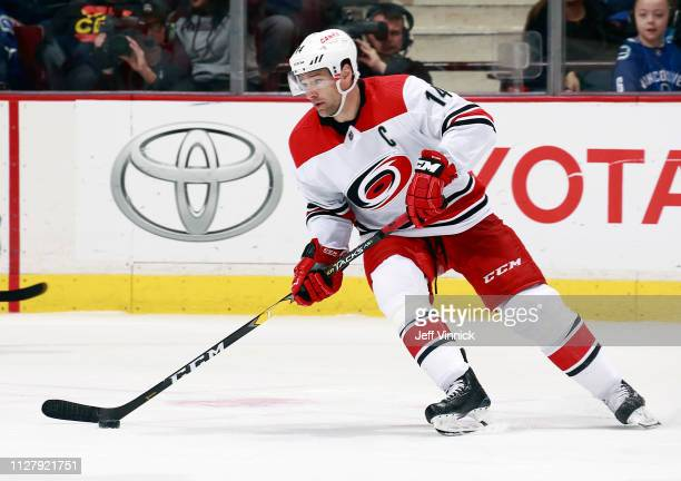 Justin Williams of the Carolina Hurricanes skates up ice during their NHL game against the Vancouver Canucks at Rogers Arena January 23 2019 in...