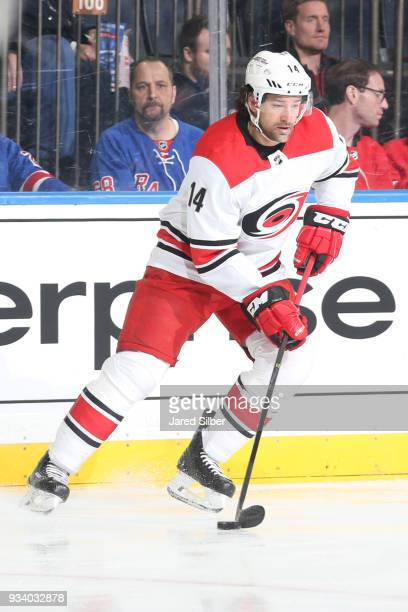 Justin Williams of the Carolina Hurricanes skates with the puck against the New York Rangers at Madison Square Garden on March 12 2018 in New York...