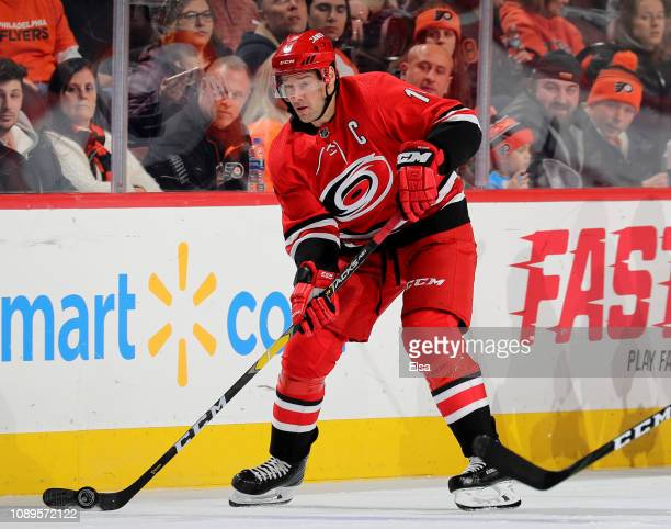 Justin Williams of the Carolina Hurricanes takes the puck in the third period against the Philadelphia Flyers at Wells Fargo Center on January 03,...