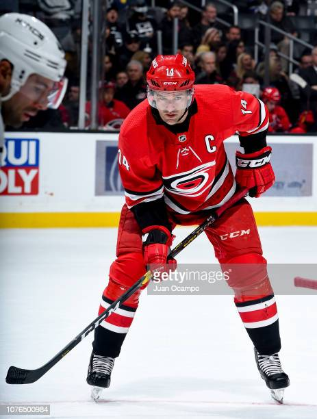 Justin Williams of the Carolina Hurricanes waits for a face-off during the second period of the game against the Los Angeles Kings at STAPLES Center...