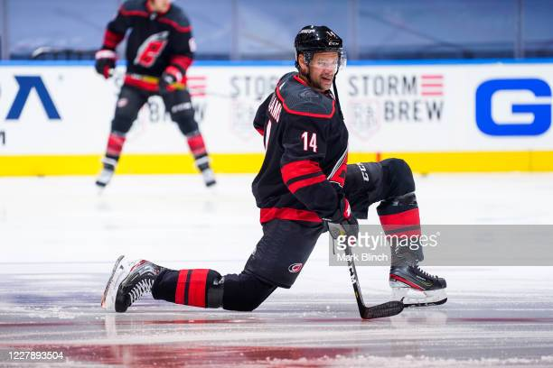 Justin Williams of the Carolina Hurricanes warms up before facing the New York Rangers in Game Two of the Eastern Conference Qualification Round...