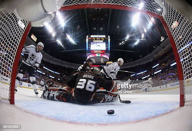 Justin Williams of the Los Angeles Kings scores a goal past goaltender John Gibson of the Anaheim Ducks in the first period of Game Seven of the...