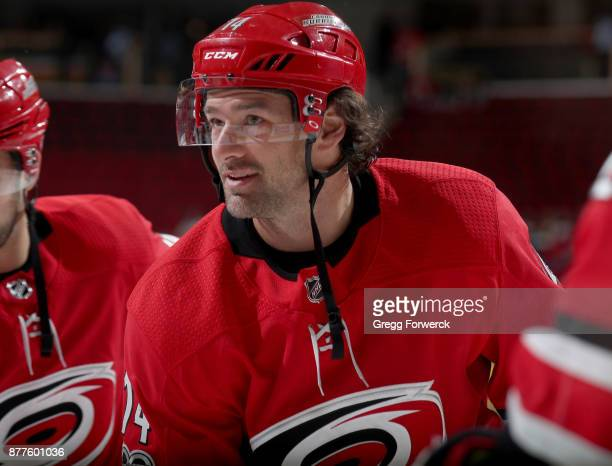 Justin Williams of the of the Carolina Hurricanes participates in warmups prior to an NHL game against New York Rangers on November 22 2017 at PNC...