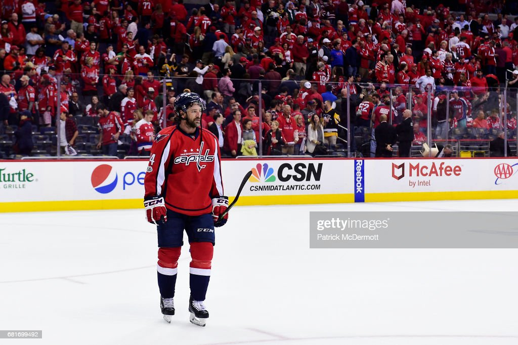 Justin Williams #14 of the Washington Capitals reacts after the Pittsburgh Penguins defeated the Capitals 2-0 in Game Seven of the Eastern Conference Second Round during the 2017 NHL Stanley Cup Playoffs at Verizon Center on May 10, 2017 in Washington, DC.