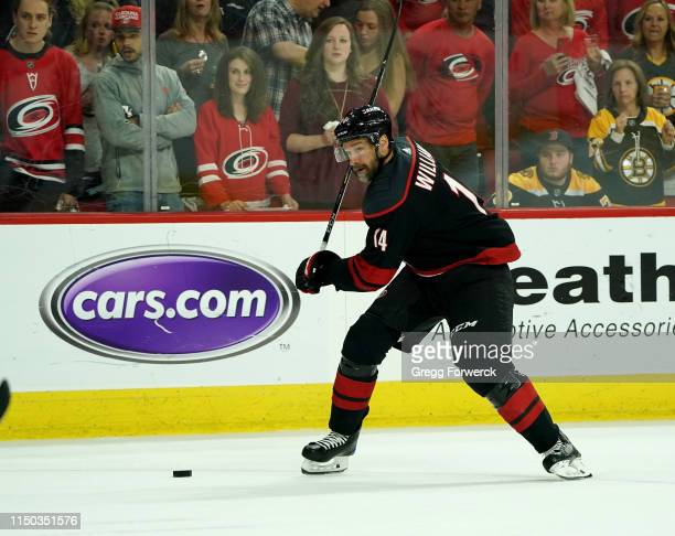 Justin Williams prepares to shoot the puck in Game Four of the Eastern Conference Third Round against the Boston Bruins during the 2019 NHL Stanley...