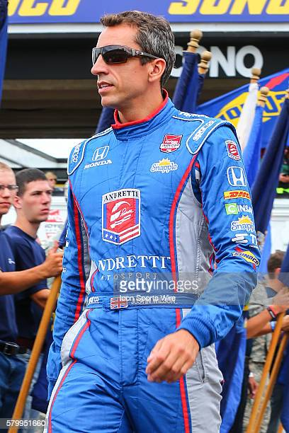 Justin Wilson driver of the Andretti Autosports Honda during driver introductions prior the Verizon IndyCar Series ABC Supply 500 at Pocono Raceway...