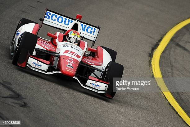 Justin Wilson driver of the Dale Coyne Racing Dallara Honda practices for the Iowa Corn Indy 300 at Iowa Speedway on July 11 2014 in Newton Iowa