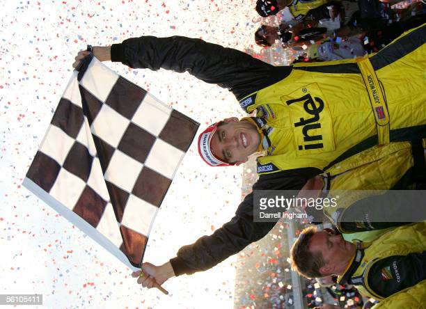 Justin Wilson, driver of the Intel RuSport Lola Ford celebrates winning the ChampCar World Series Gran Premio Telmex-Tecate on November 6, 2005 at...