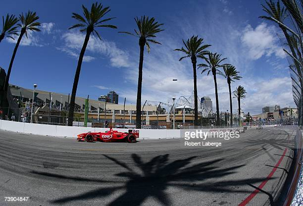 Justin Wilson driver of the RSPORTS Panoz DP01 leads a pack of cars during the ChampCar World Series Toyota Grand Prix of Long Beach on April 15 2007...