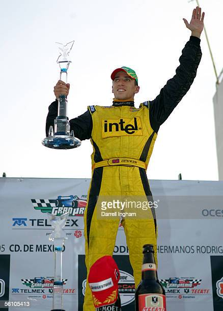 Justin Wilson, driver of the RuSport Lola Ford celebrates winning the ChampCar World Series Gran Premio Telmex-Tecate on November 6 , 2005 at the...