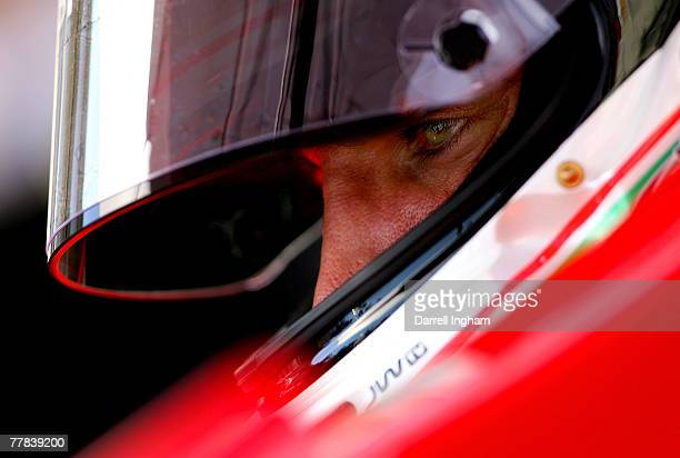 Justin Wilson driver of the RuSPORT Panoz DP01 looks on during practice for the ChampCar World Series Grand Premio Tecate on November 10 2007 at the...