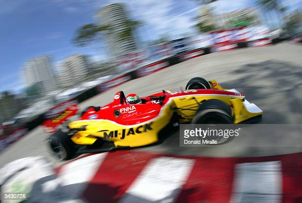 Justin Wilson drives MiJack Ford Cosworth Lola during qualifying for the Toyota Grand Prix of Long Beach part of the Championship Auto Racing Teams...