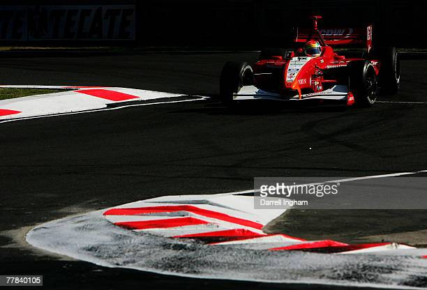 Justin Wilson drives the RuSPORT Panoz DP01 during practice for the ChampCar World Series Grand Premio Tecate on November 10 2007 at the Autodromo...