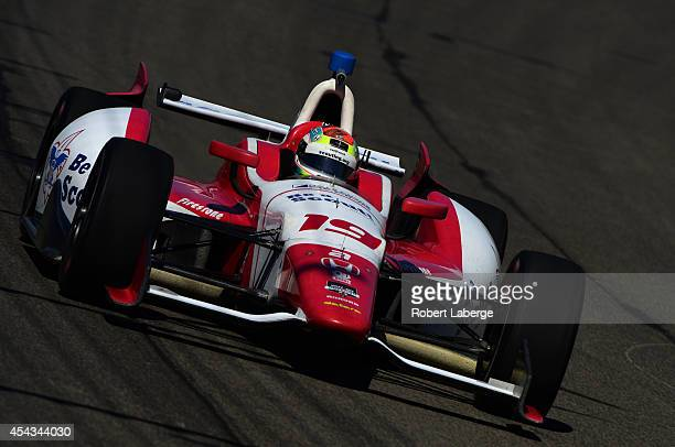 Justin Wilson of England driver of the Dale Coyne Racing during practice for the Verizon IndyCar Series MAVTV 500 IndyCar World Championship Race at...