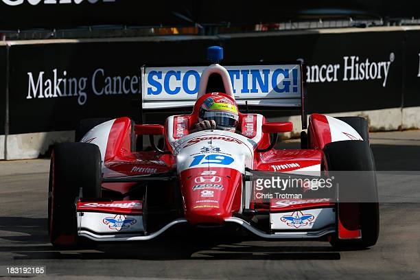 Justin Wilson of England driver of the Dale Coyne Racing Honda Dallara drives during the IZOD IndyCar Series Shell and Pennzoil Grand Prix Of Houston...