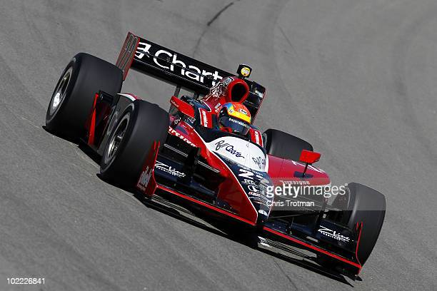Justin Wilson of England driver of the Team ZLine Design Dreyer Reinbold Racing Dallara Honda practices for the IRL Indycar Series Iowa Corn Indy 250...