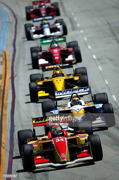 Justin Wilson of England drives in front of the pack in his MiJack Conquest Racing FordCosworth Lola during the Toyota Grand Prix of Long Beach part...