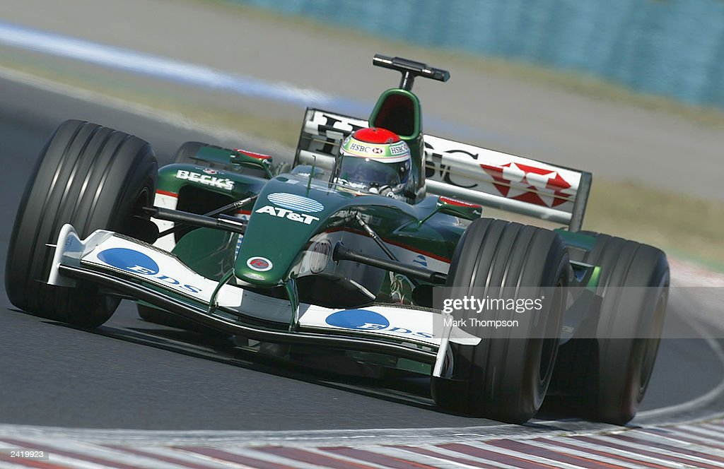 Justin Wilson of Great Britain and Jaguar in action during second practice for the Formula One Hungarian Grand Prix at the Hungaroring on August 23, 2003 in Budapest, Hungary.