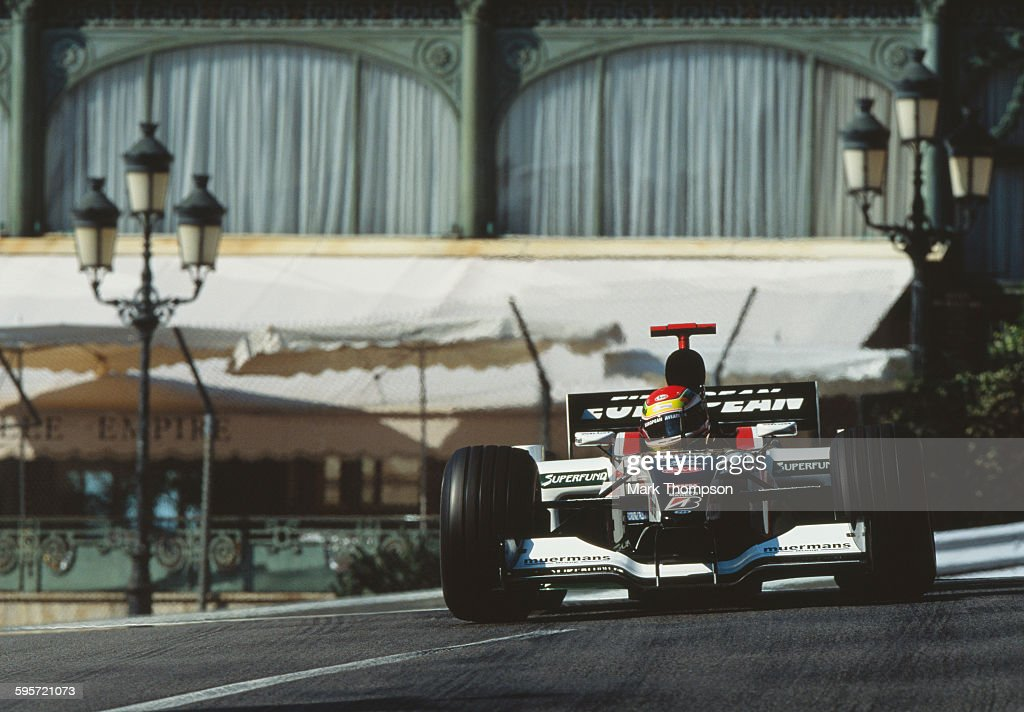 Justin Wilson of Great Britain drives the #18 European Minardi Cosworth Minardi PS03 Cosworth V10 out of Casino Square during practice for the Grand Prix of Monaco on 31 May 2003 on the streets of the Principality of Monaco in Monte Carlo, Monaco.