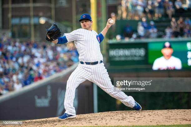 Justin Wilson of the Chicago Cubs pitches against the Minnesota Twins on June 29 2018 at Wrigley Field in Chicago Illinois The Cubs defeated the...