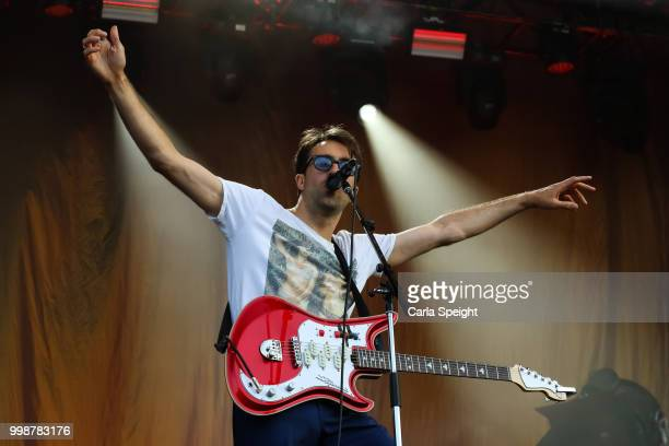 Justin Young of The Vaccines performs on Main Stage at Latitude Festival in Henham Park Estate on July 14 2018 in Southwold England