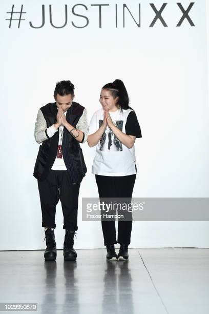 Justin YuYing Chou walks the runways at the Just In XX show during New York Fashion Week The Shows at Gallery II at Spring Studios on September 9...