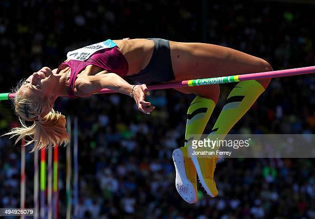 Justina Kasprzycka of Poland competes in the high jump during day 2 of the IAAF Diamond League Nike Prefontaine Classic on May 31 2014 at the Hayward...