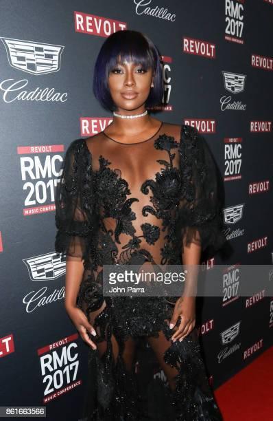 Justina Skye arrives at REVOLT Music Conference Gala Dinner Award Presentation at Eden Roc Hotel on October 14 2017 in Miami Beach Florida