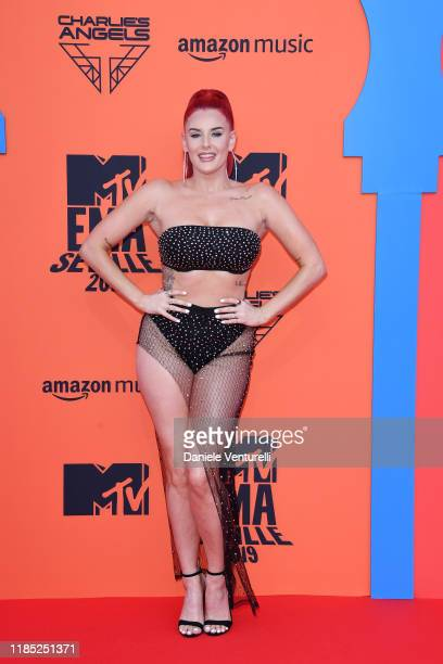 Justina Valentine attends the MTV EMAs 2019 at FIBES Conference and Exhibition Centre on November 03 2019 in Seville Spain