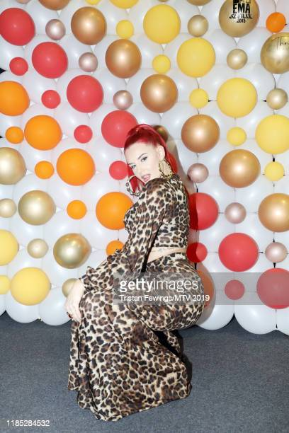 Justina Valentine is seen backstage during the MTV EMAs 2019 at FIBES Conference and Exhibition Centre on November 03 2019 in Seville Spain