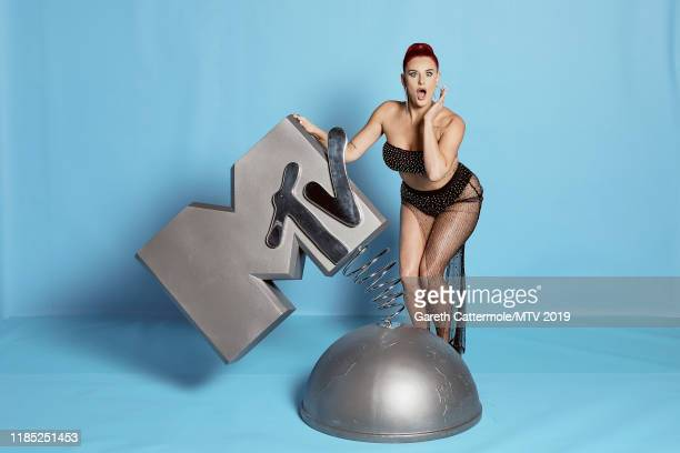 Justina Valentine poses at the MTV EMAs 2019 studio at FIBES Conference and Exhibition Centre on November 03 2019 in Seville Spain