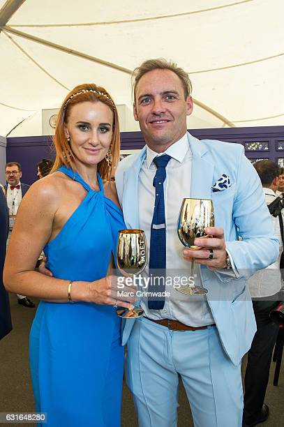 Justine and Andrew Costello attend Magic Millions Raceday on January 14 2017 in Gold Coast Australia