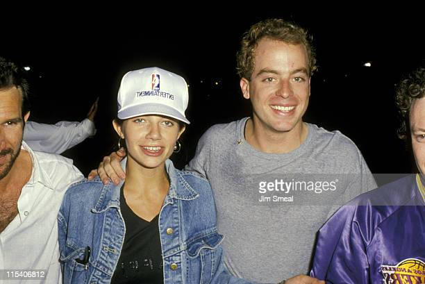 Justine Bateman and Leif Garrett during Justine Bateman Sighting at Los Angeles Lakers Game June 21 1988 at The Forum in Los Angeles California...