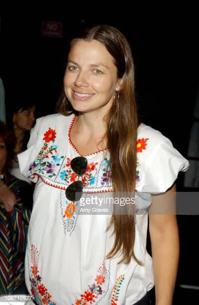 Justine Bateman during 2003 Smashbox Fashion Week Los Angeles Maggie Berry Spring Collection 2004 Backstage at Smashbox in Culver City California...