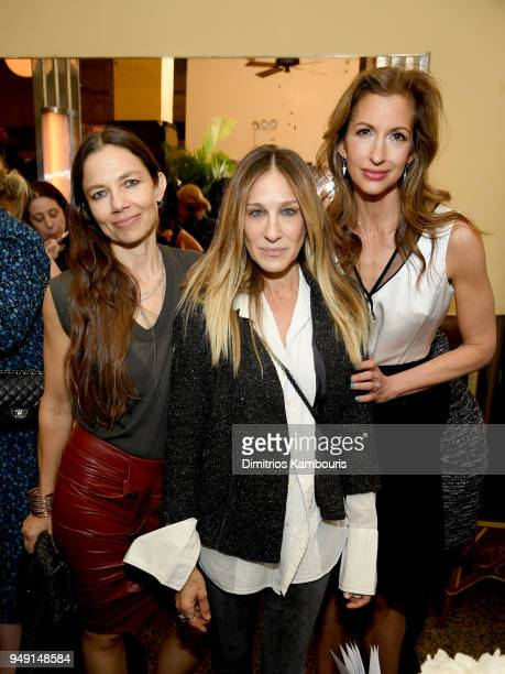 Justine Bateman Sarah Jessica Parker and Alysia Reiner attend the CHANEL Tribeca Film Festival Women's Filmmaker Luncheon at Odeon on April 20 2018...