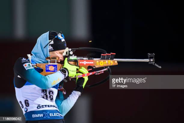 Justine Braisaz of France at the shooting range during the Women 15 km Individual Competition at the BMW IBU World Cup Biathlon Oestersund at on...