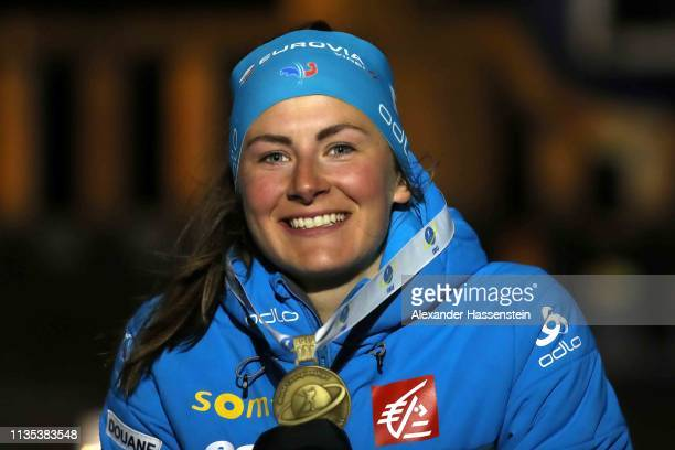 Justine Braisaz of France celebrates the Bronze medal at the Medal Ceremony for the IBU Biathlon World Championships Women 15km at Medal Plaza on...