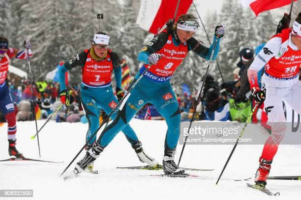 Justine Braisaz of France competes Anais Bescond of France competes during the IBU Biathlon World Cup Men's and Women's Mass Start on January 21 2018...
