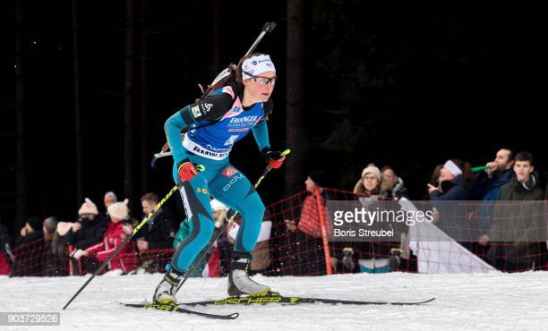 Justine Braisaz of France competes during the 10 km IBU World Cup Biathlon Oberhof women's Persuit on January 7 2018 in Oberhof Germany