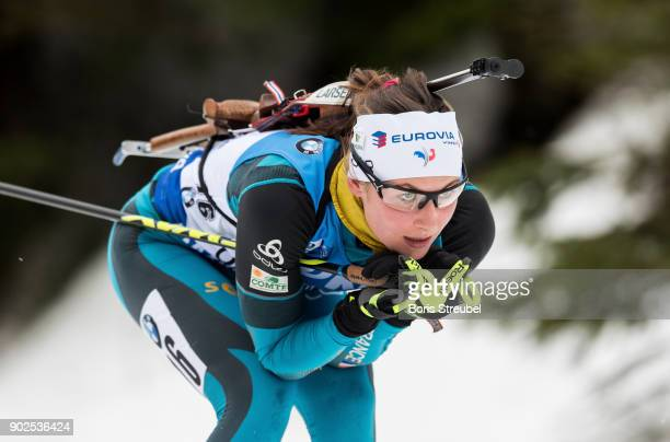 Justine Braisaz of France competes during the 75 km IBU World Cup Biathlon Oberhof women's Sprint on January 4 2018 in Oberhof Germany